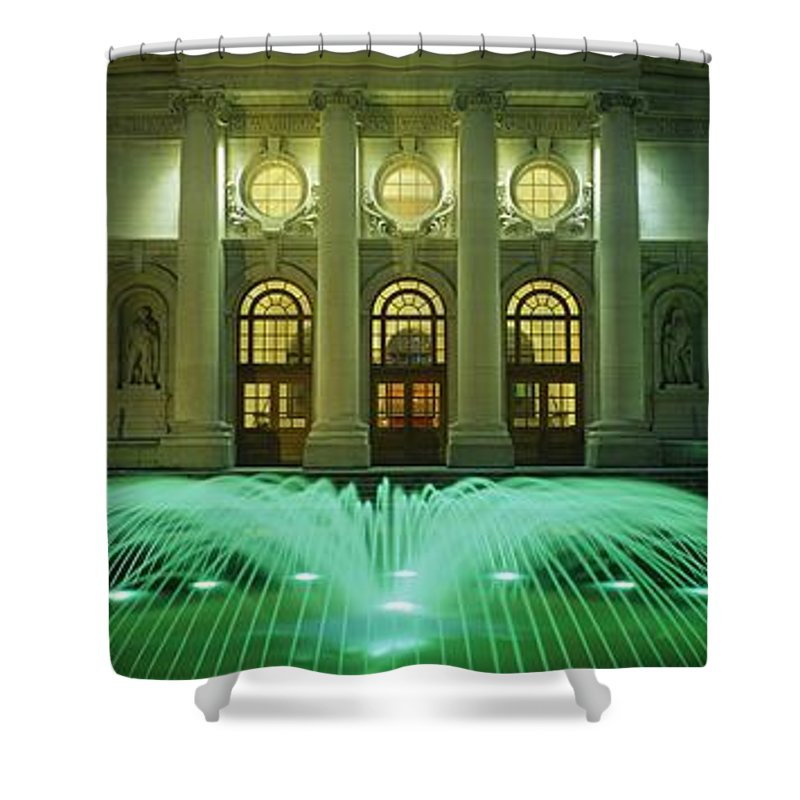 Architecture Shower Curtain featuring the photograph Fountain In Front Of A Government by The Irish Image Collection