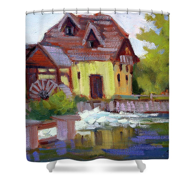 Fourge Mill Shower Curtain featuring the painting Fourge Mill Giverny by Diane McClary