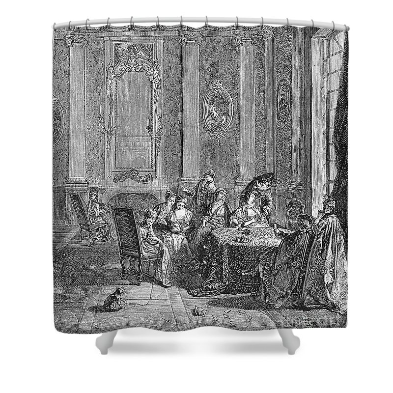 18th Century Shower Curtain featuring the photograph France: Gambling, C1750 by Granger