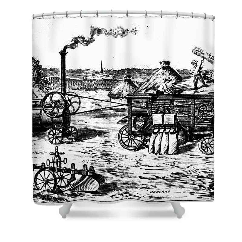19th Century Shower Curtain featuring the photograph France: Steam Threshing by Granger