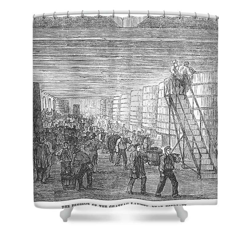 1854 Shower Curtain featuring the photograph France: Winemaking, 1854 by Granger