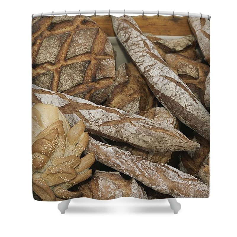 Europe Shower Curtain featuring the photograph French Breads At A Bazaar In Provence by Nicole Duplaix