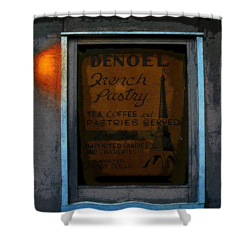 Art Shower Curtain featuring the painting French Pastry Shop by David Lee Thompson