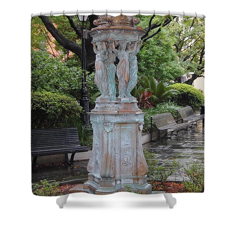 New Orleans Shower Curtain featuring the digital art French Quarter Courtyard Statue New Orleans by Shawn O'Brien