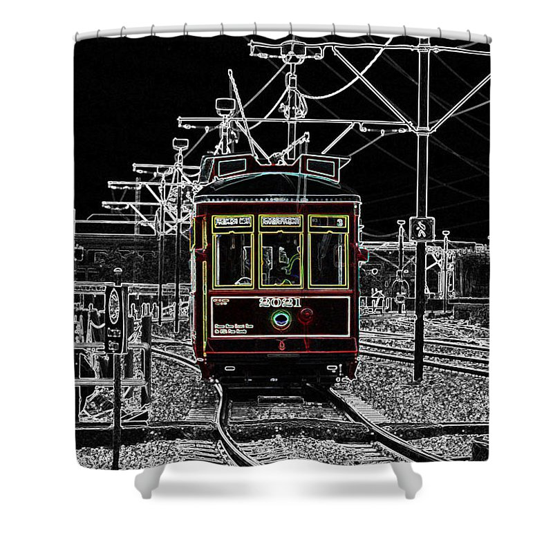 Travelpixpro New Orleans Shower Curtain featuring the digital art French Quarter French Market Cable Car New Orleans Color Splash Black And White With Glowing Edges by Shawn O'Brien