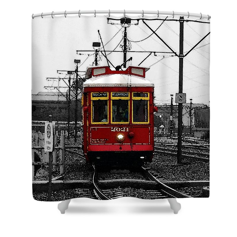 New Orleans Shower Curtain featuring the digital art French Quarter French Market Cable Car New Orleans Color Splash Black And White With Watercolor by Shawn O'Brien