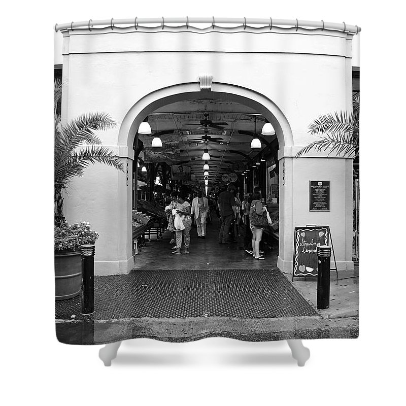 New Orleans Shower Curtain featuring the digital art French Quarter French Market Entrance New Orleans Black And White by Shawn O'Brien