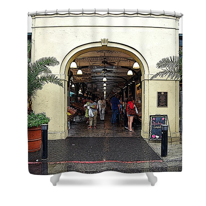 New Orleans Shower Curtain featuring the digital art French Quarter French Market Entrance New Orleans Poster Edges Digital Art by Shawn O'Brien
