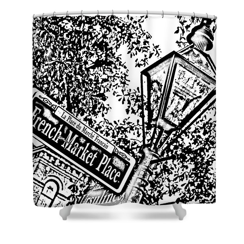 Travelpixpro New Orleans Shower Curtain featuring the digital art French Quarter French Market Street Sign New Orleans Photocopy Digital Art by Shawn O'Brien