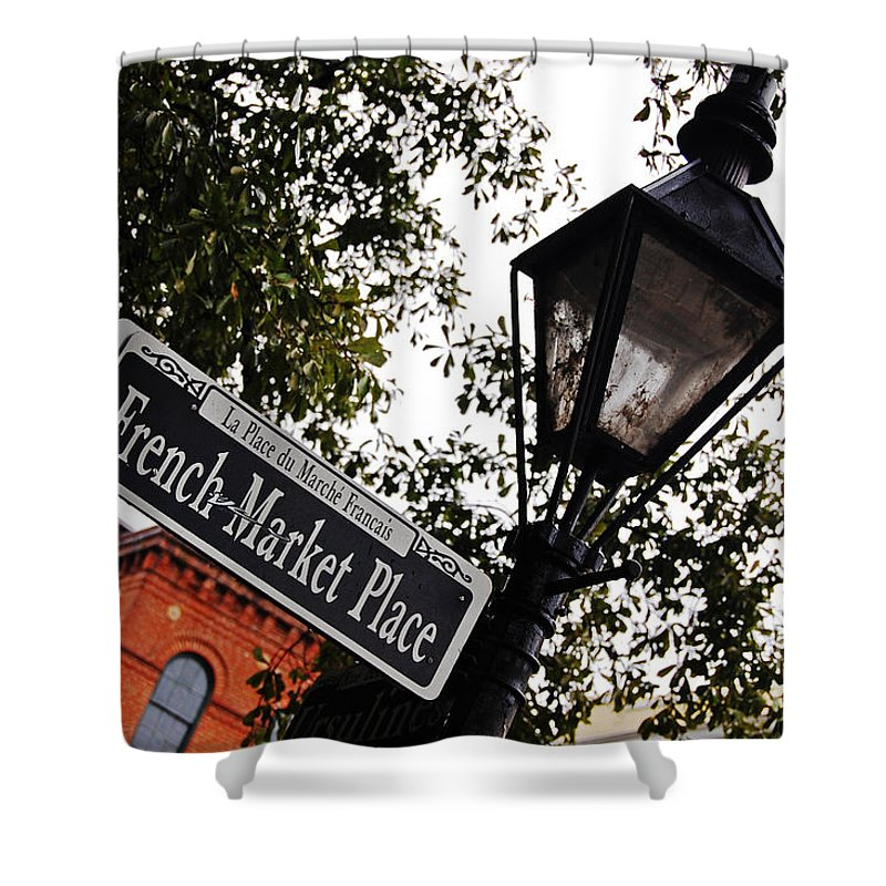 Travelpixpro New Orleans Shower Curtain featuring the photograph French Quarter French Market Street Sign New Orleans by Shawn O'Brien