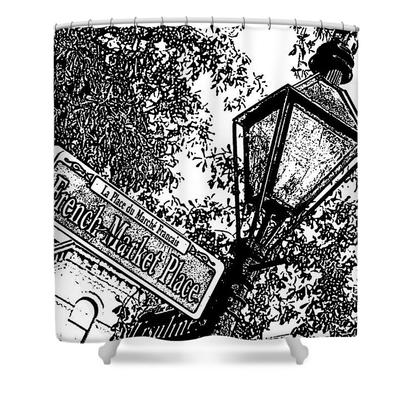 Travelpixpro New Orleans Shower Curtain featuring the digital art French Quarter French Market Street Sign New Orleans Stamp Digital Art by Shawn O'Brien