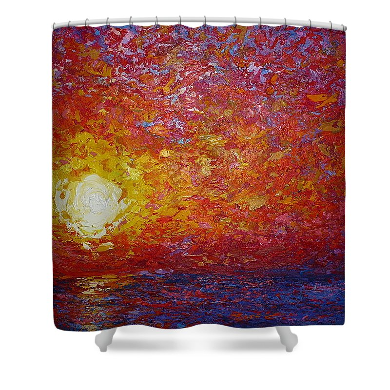 Landscape Shower Curtain featuring the painting From the Wall by Ericka Herazo