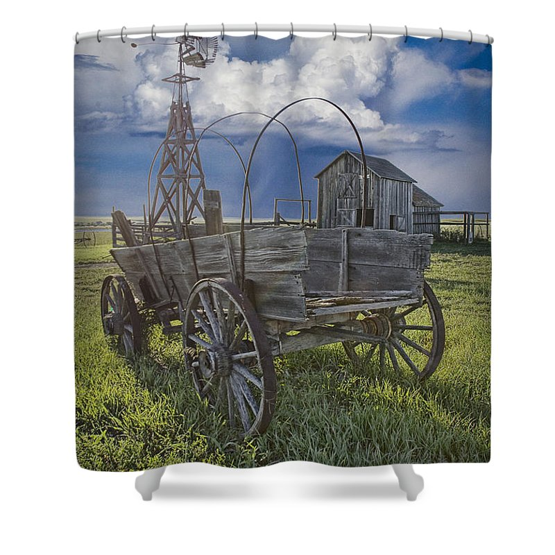 Art Shower Curtain featuring the photograph Frontier Farm In 1880 Town by Randall Nyhof