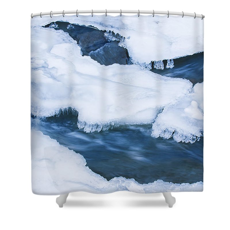 Blue Shower Curtain featuring the photograph Frozen Stream II by MakenaStockMedia - Printscapes