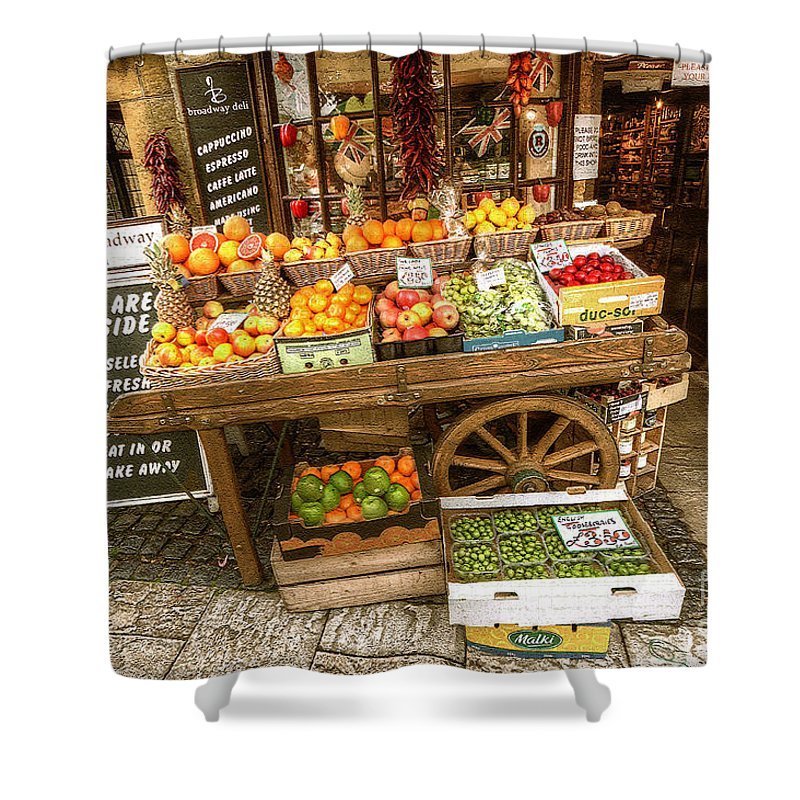 A Fruit & Veg Cart Outside A Grocers In Broadway Shower Curtain featuring the photograph Fruit N Veg by Rob Hawkins