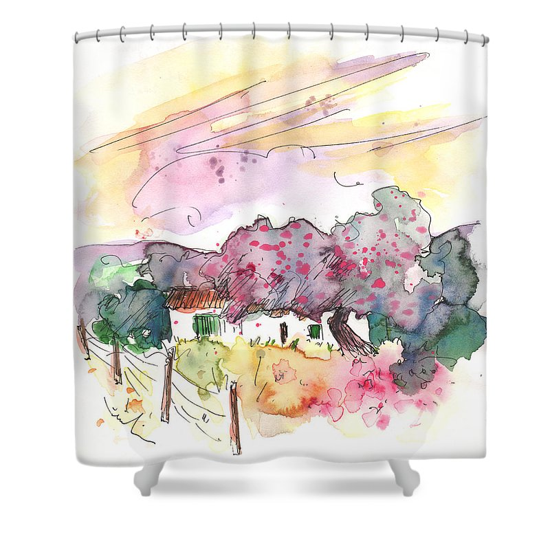 Travel Shower Curtain featuring the painting Fuente Obejuna 01 by Miki De Goodaboom