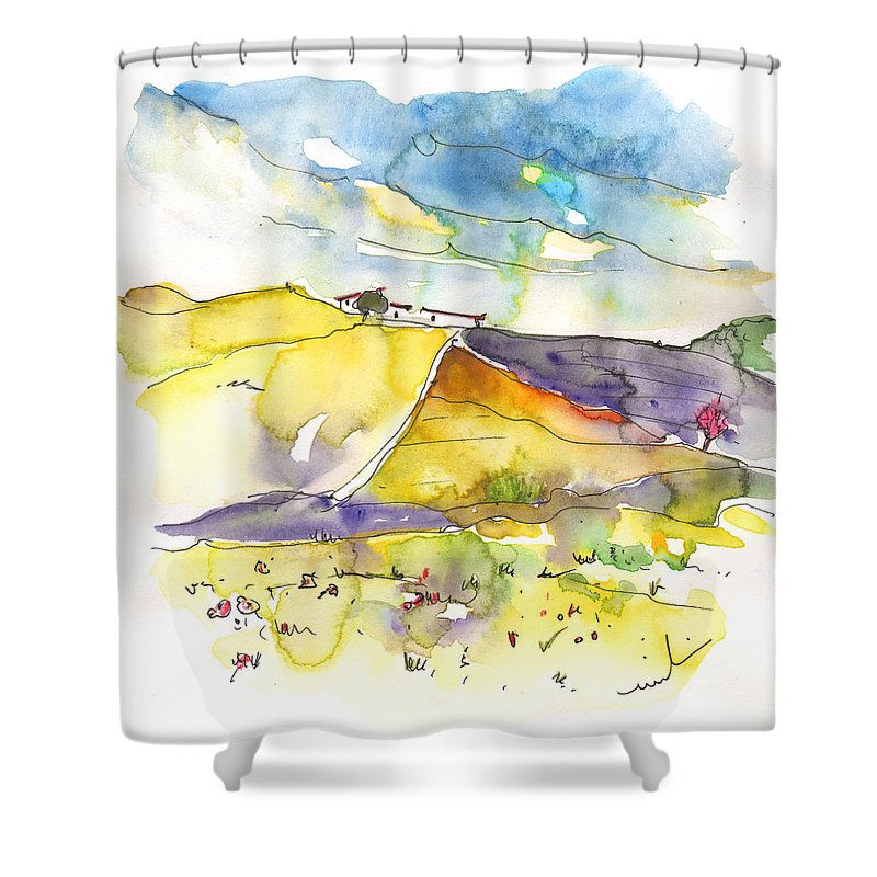 Travel Shower Curtain featuring the painting Fuente Obejuna 03 by Miki De Goodaboom