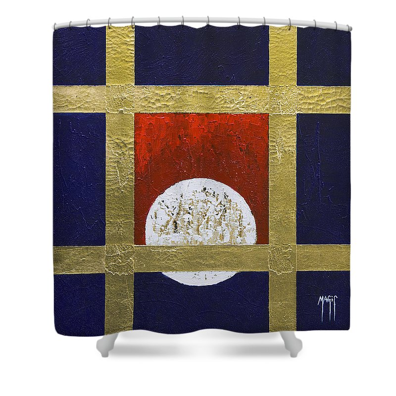 Art Shower Curtain featuring the painting Full Moon by Mauro Celotti