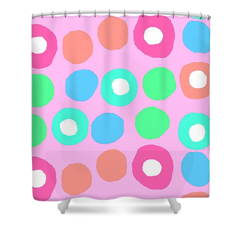 Fun Spots (digital) By Louisa Knight (contemporary Artist) Shower Curtain featuring the digital art Fun Spots by Louisa Knight