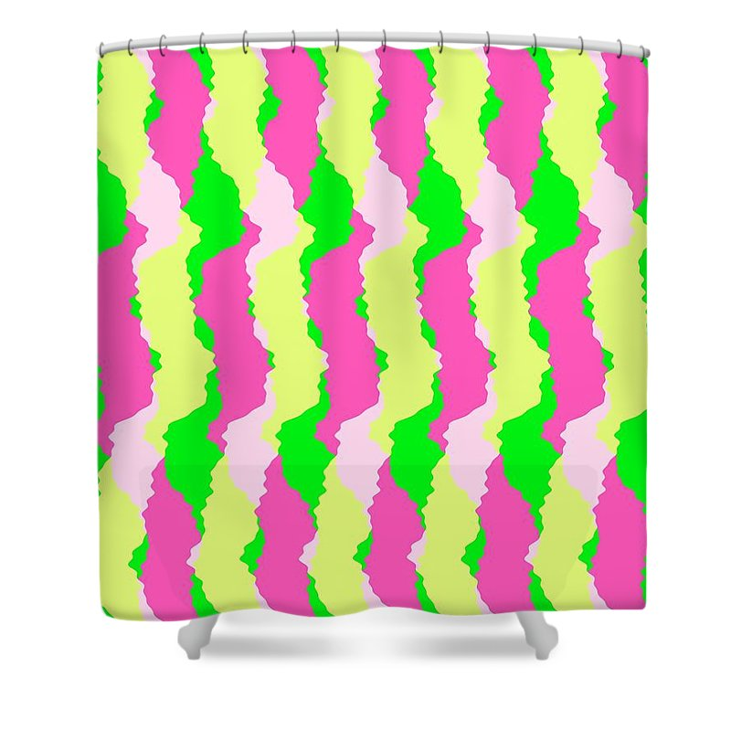 Funky Stripes Shower Curtain featuring the digital art Funky Stripes by Louisa Knight