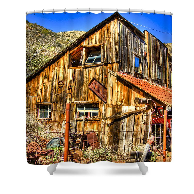 Old Truck Shower Curtain featuring the photograph Garage Shack by Jon Berghoff