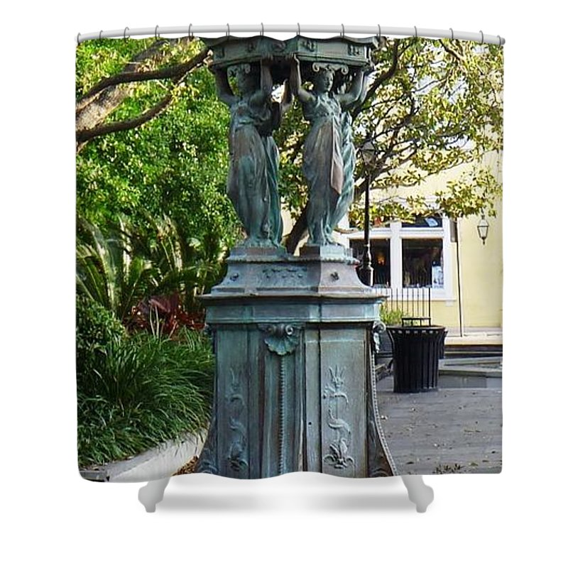 Photograph Shower Curtain featuring the photograph Garden Statuary In The French Quarter by Alys Caviness-Gober