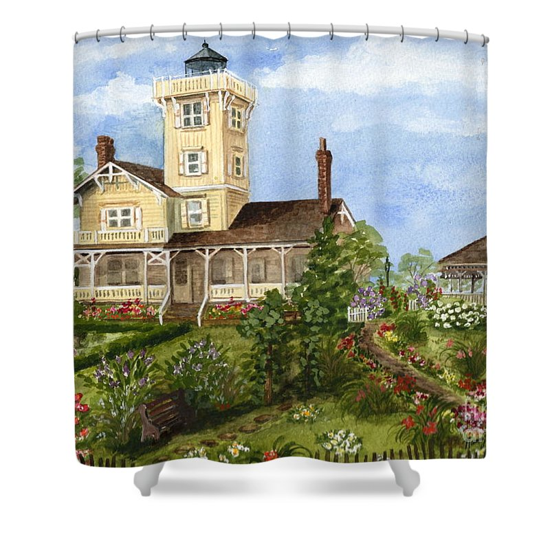 Hereford Inlet Lighthouse Shower Curtain featuring the painting Gardens At Hereford Inlet Lighthouse by Nancy Patterson