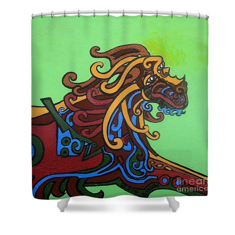 Gargoyle Dog Shower Curtain featuring the painting Gargoyle Dog by Genevieve Esson