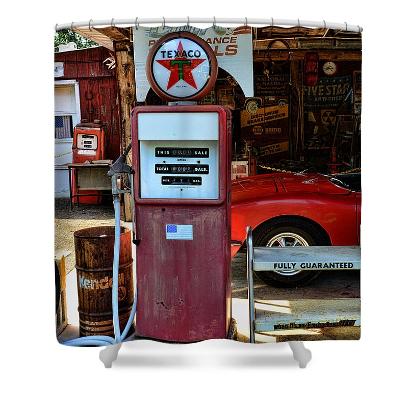 Texaco Gas Pump Globe Shower Curtain featuring the photograph Gas Pump - Texaco Gas Globe by Paul Ward