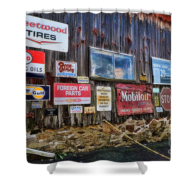 Gas Station Signs Shower Curtain featuring the photograph Gas Station Signs by Paul Ward