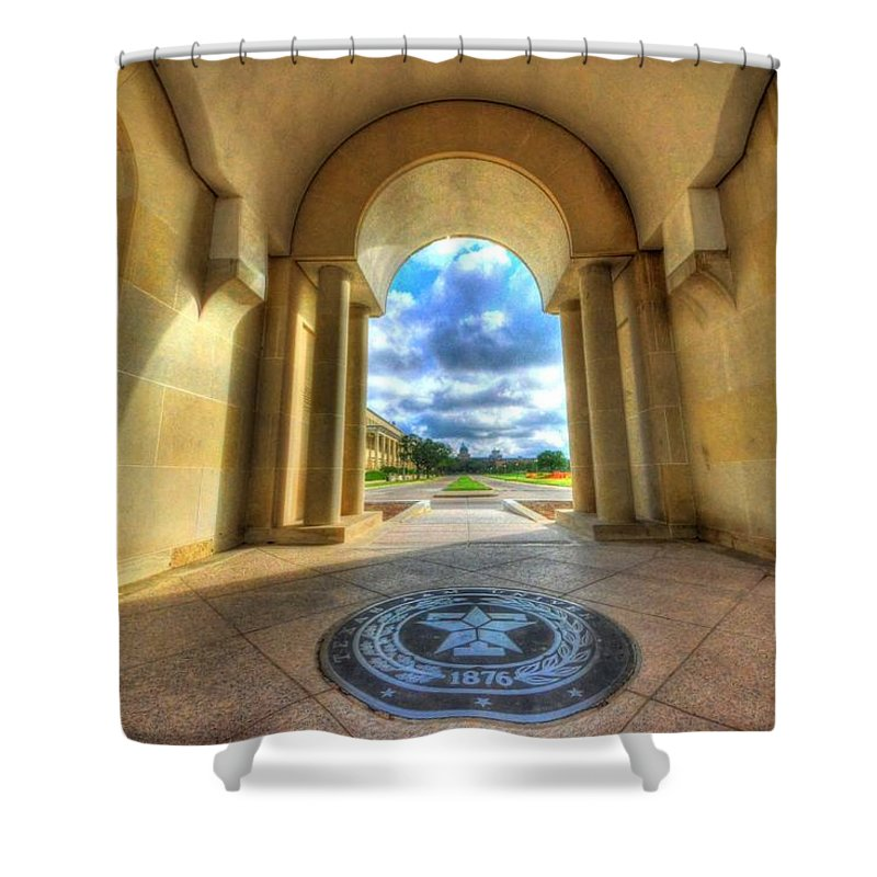 Texas A&m Shower Curtain featuring the photograph Gateway To A New Life by David Morefield