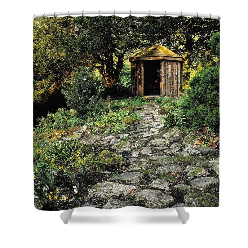 Ballinlough Castle Shower Curtain featuring the photograph Gazebo And Path, Ballinlough Castle, Co by The Irish Image Collection