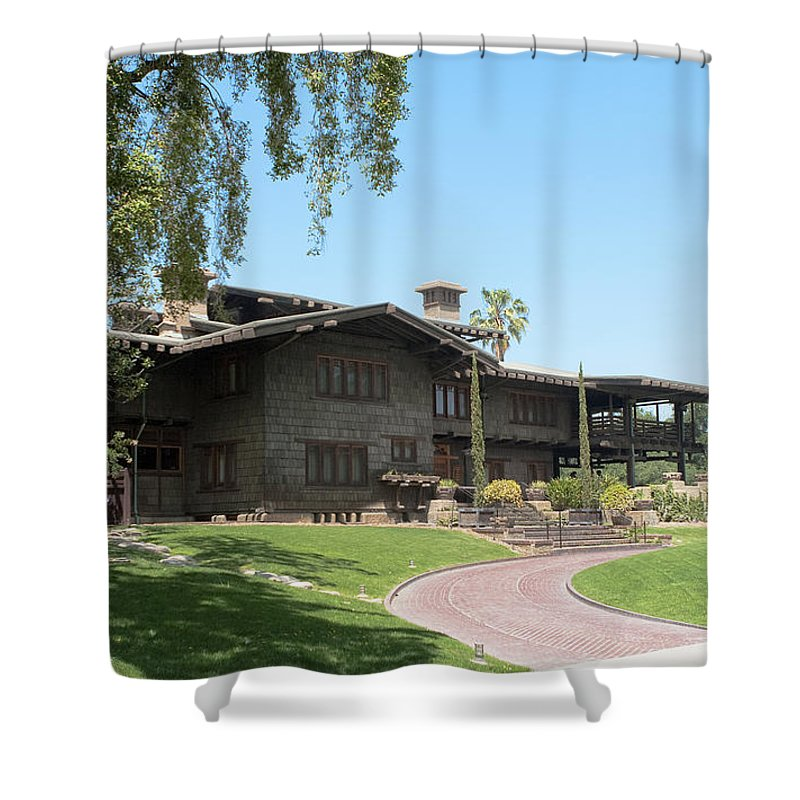 Gamble House Shower Curtain featuring the photograph Gazing At The Gamble by Lorraine Devon Wilke