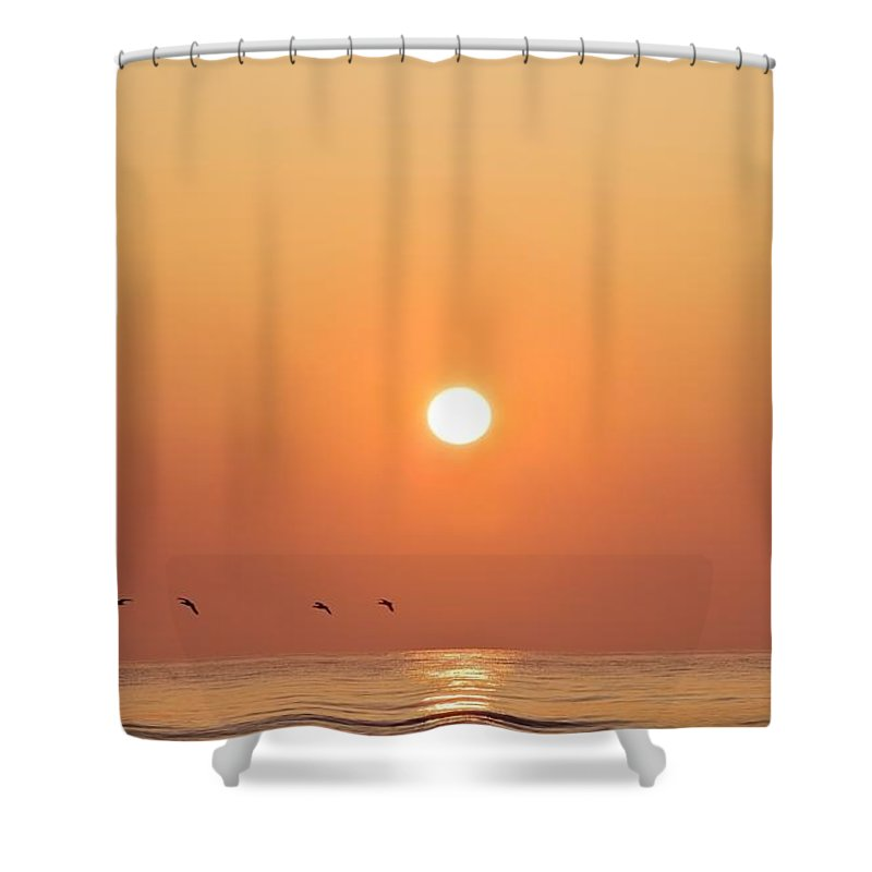 Calm Shower Curtain featuring the photograph Geese Fly By Sunrise Over Irish Sea by Peter McCabe