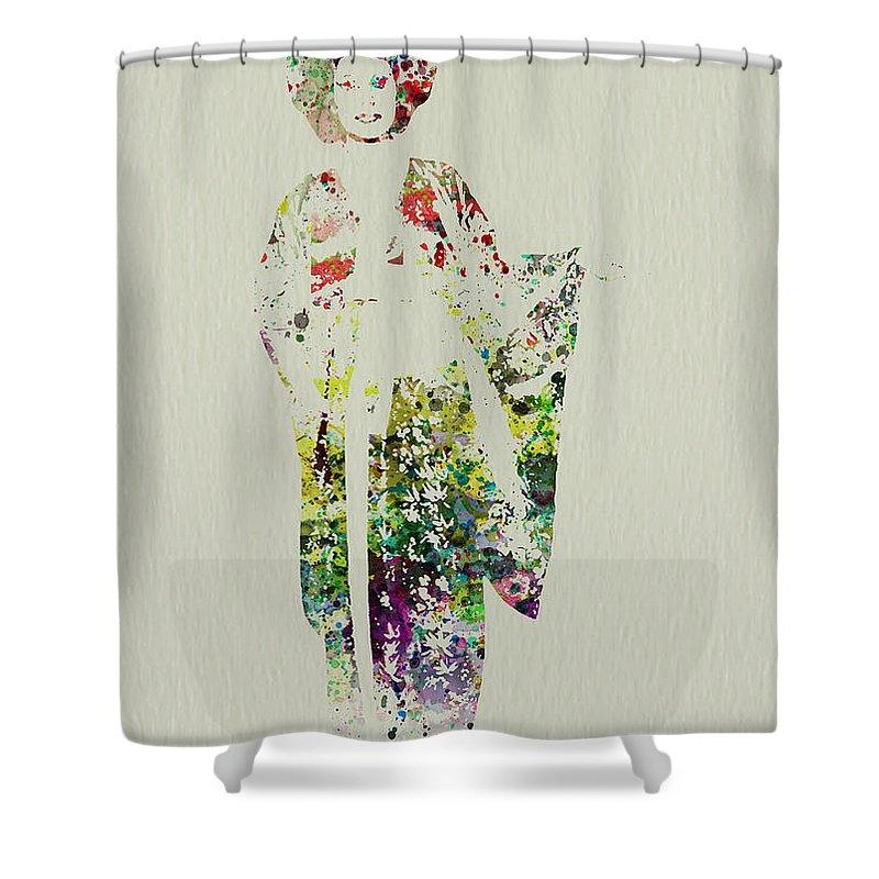 Kimono Shower Curtain Featuring The Painting Geisha By Naxart Studio