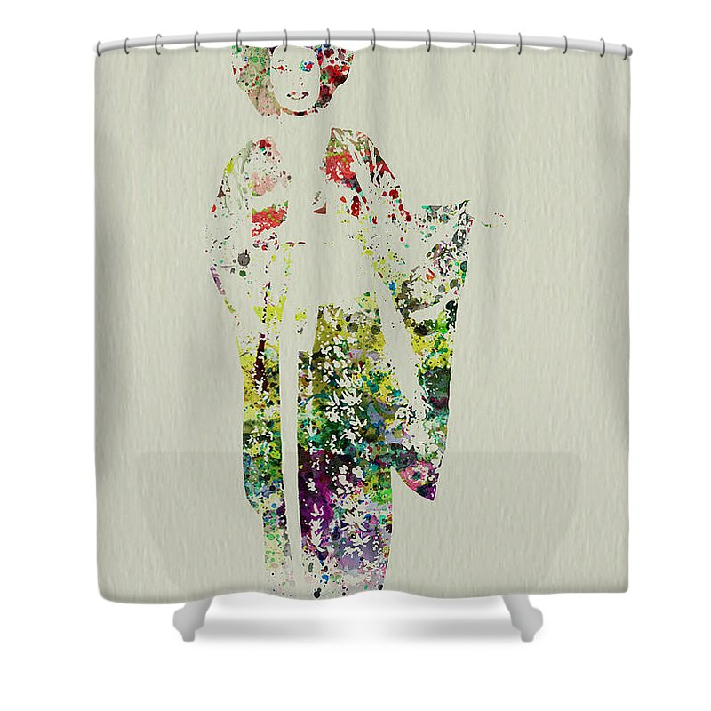 Kimono Shower Curtain Featuring The Painting Geisha By Naxart Studio