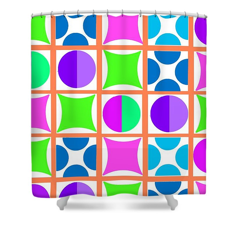 Geo (digital) By Louisa Knight (contemporary Artist) Shower Curtain featuring the digital art Geo by Louisa Knight