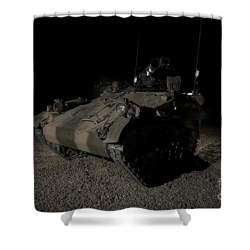 Provincial Reconstruction Team Shower Curtain featuring the photograph German Army Crew In A Wiesel 1 Atm Tow by Terry Moore