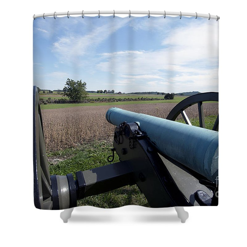 Shower Curtain featuring the photograph Gettysburg Vintage Cannon by Terri Winkler