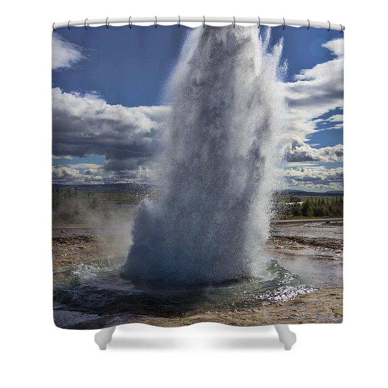 Geysir Shower Curtain featuring the photograph Geysir 3 by David Gleeson