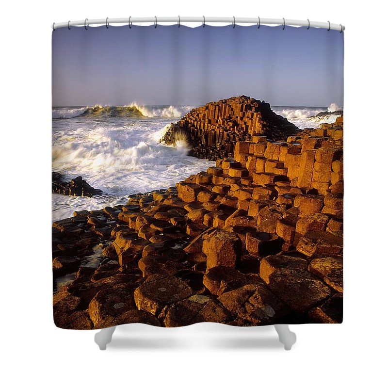Sea Shower Curtain featuring the photograph Giants Causeway, County Antrim, Ireland by The Irish Image Collection