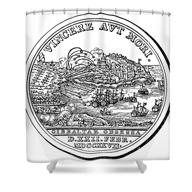 1727 Shower Curtain featuring the photograph Gibraltar: Medal, 1727 by Granger
