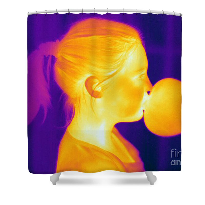 Thermogram Shower Curtain featuring the photograph Girl Blowing A Bubble by Ted Kinsman