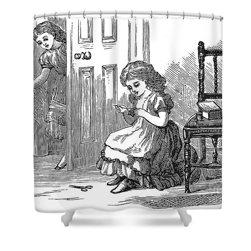1873 Shower Curtain featuring the photograph Girl Sewing, 1873 by Granger