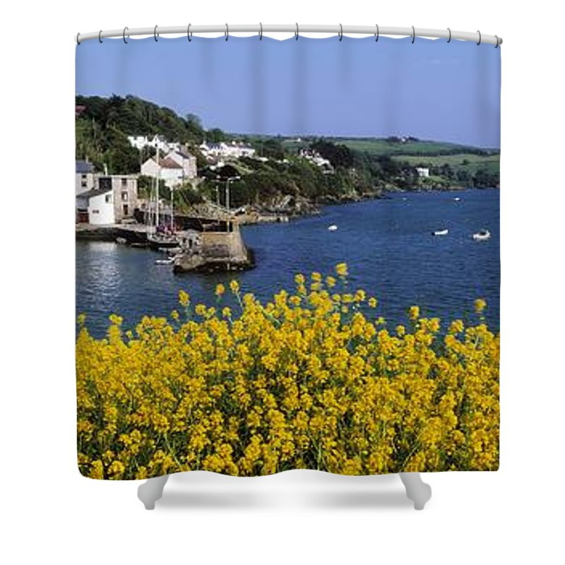 Communities Shower Curtain featuring the photograph Glandore Village & Harbour, Co Cork by The Irish Image Collection