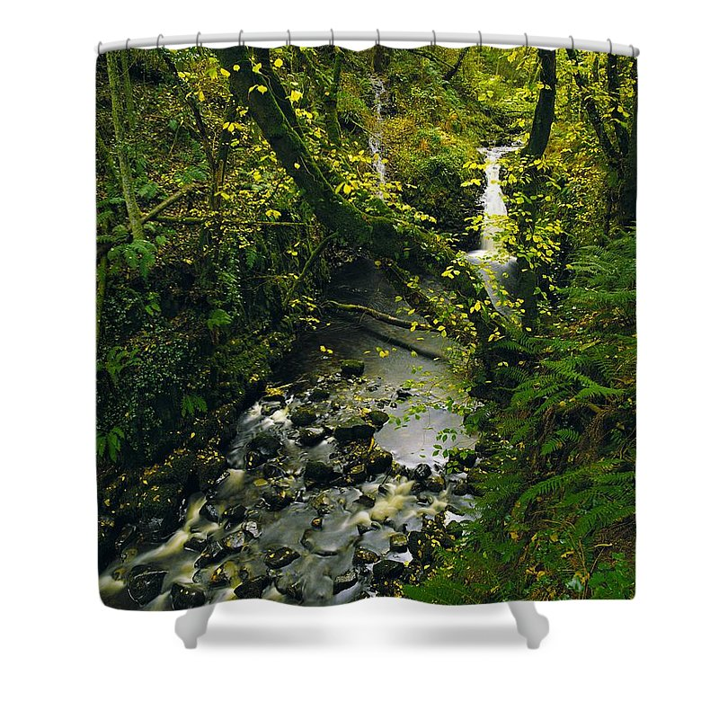 Beauty Shower Curtain featuring the photograph Glenariff, Co Antrim, Ireland Waterfall by The Irish Image Collection