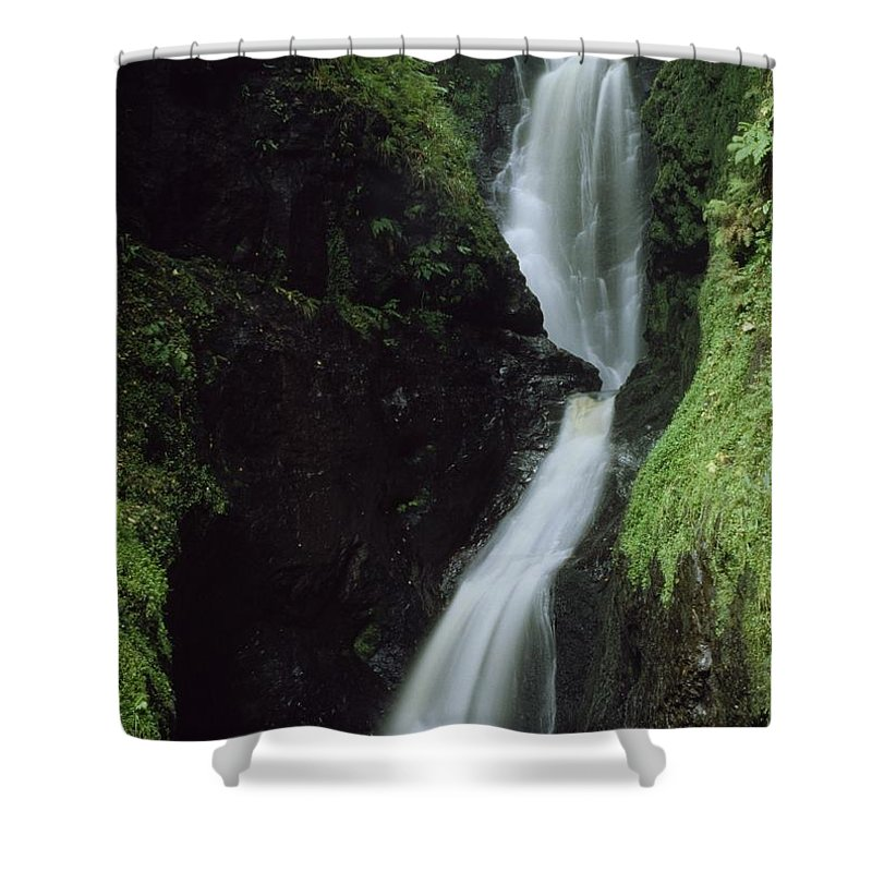Day Shower Curtain featuring the photograph Glenariff Falls, Glens Of Antrim, Co by The Irish Image Collection