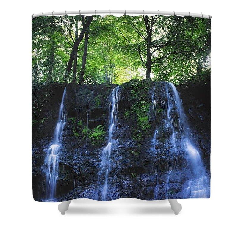 Blurred Motion Shower Curtain featuring the photograph Glenariff Waterfall, Co Antrim, Ireland by The Irish Image Collection
