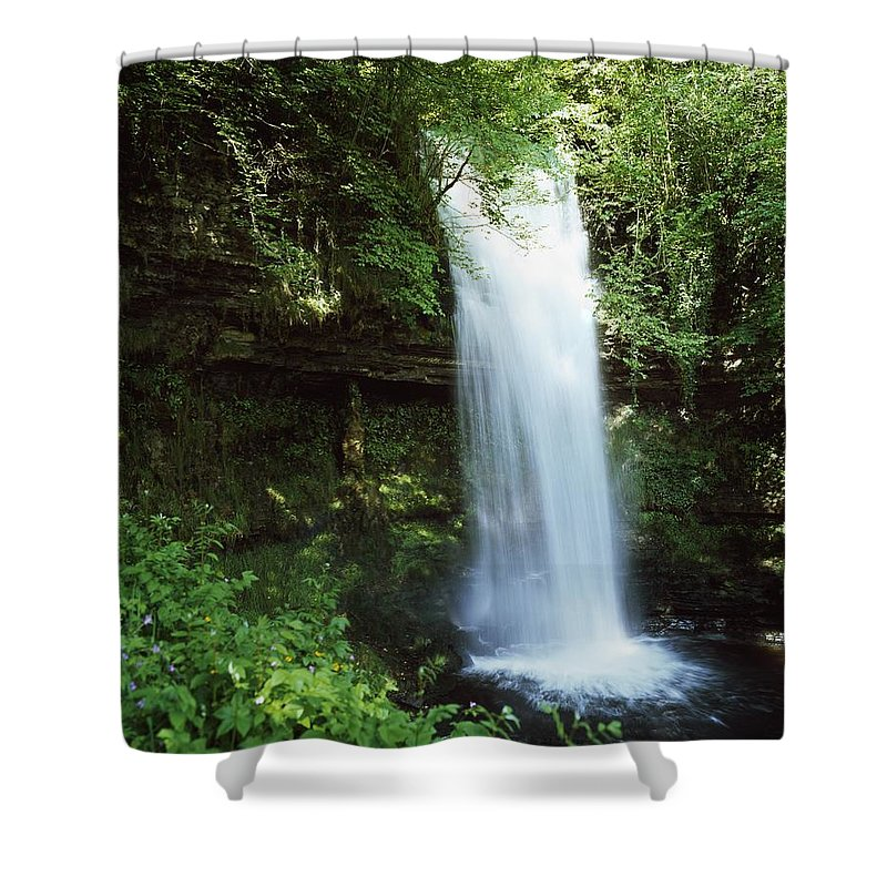 Blurred Motion Shower Curtain featuring the photograph Glencar Waterfall, Yeats Country, Co by The Irish Image Collection