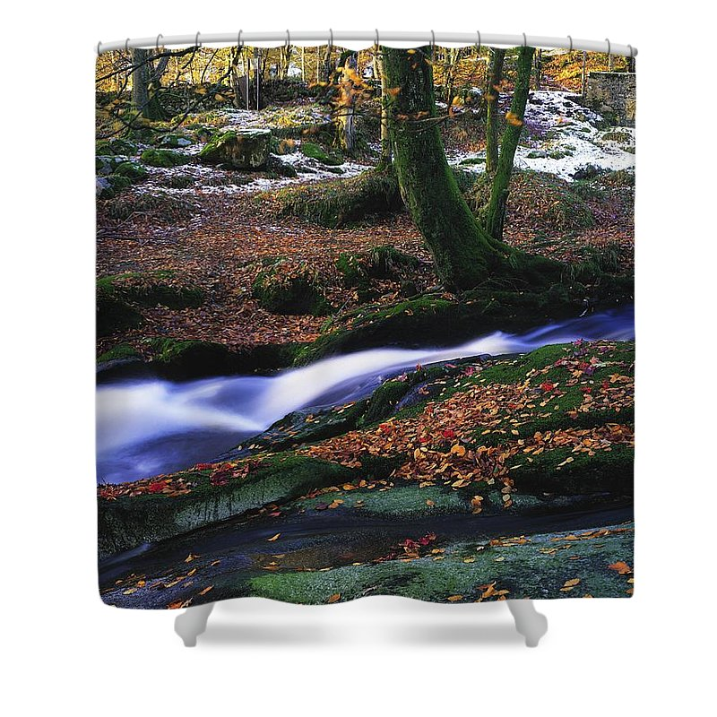 Co. Waterfall Shower Curtain featuring the photograph Glenmacnass Waterfall, Co Wicklow by The Irish Image Collection